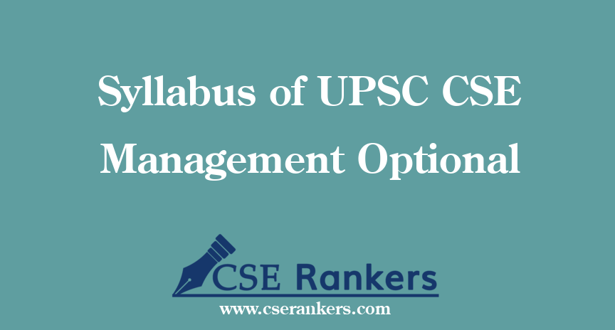 Syllabus of UPSC CSE Management Optional